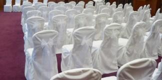 White chair covers White organza