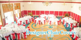red sashes white chair covers