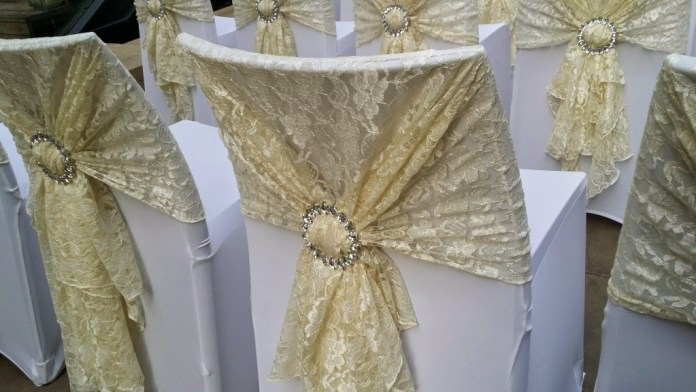 lace sash wedding