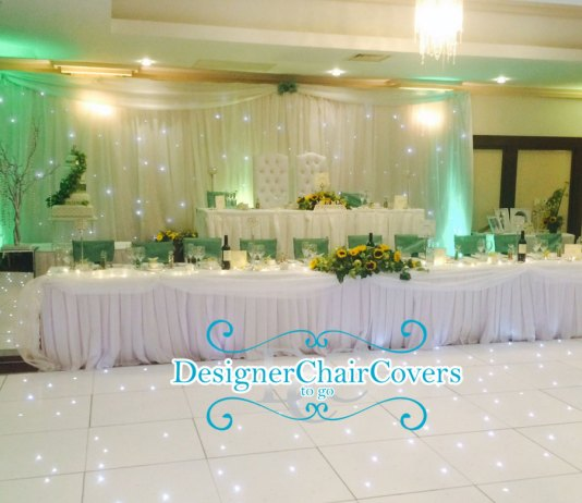 green wedding top table decor