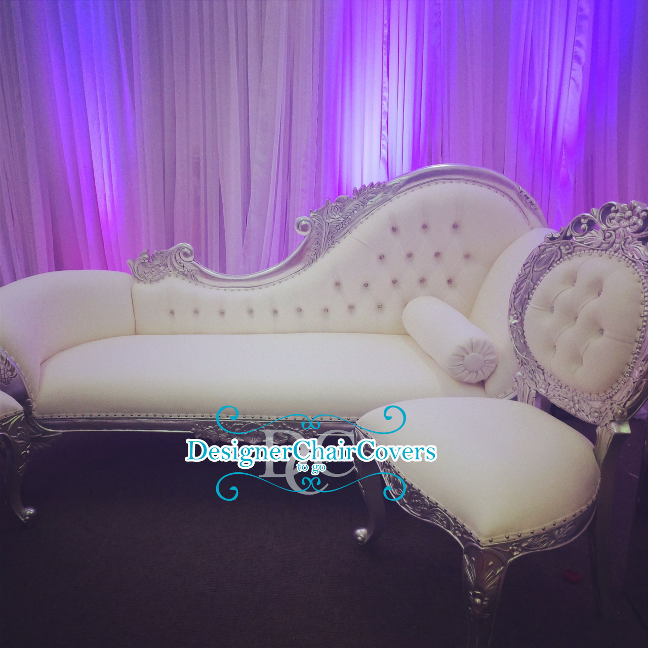 wedding sofa kathy ireland sleeper silver hire chaise lounge and side chairs