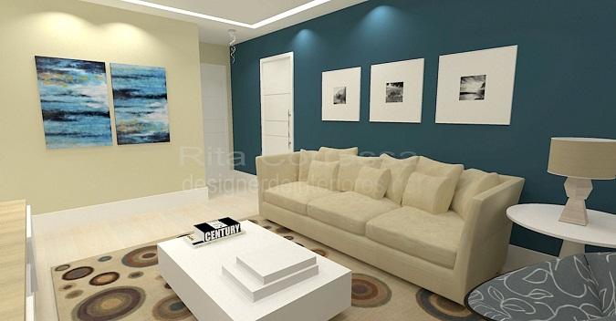 sala de estar com decoracao azul