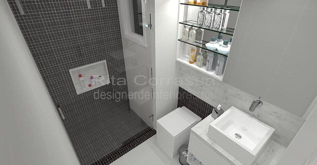 banheiro com pastilhas de vidro pretas sob medida