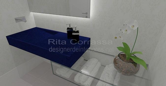 projeto de lavabo com tampo de silestone azul