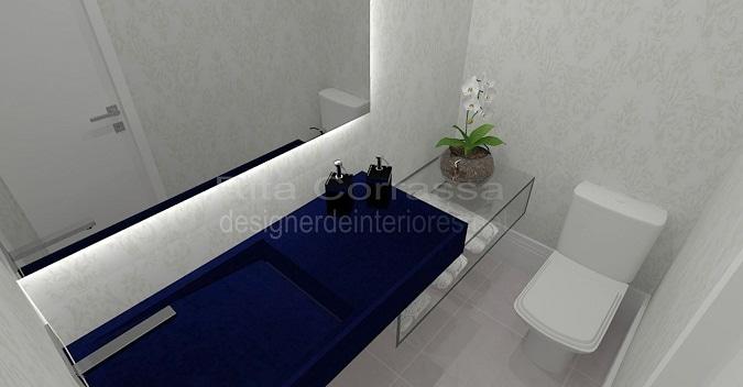 projeto de lavabo delicado e moderno