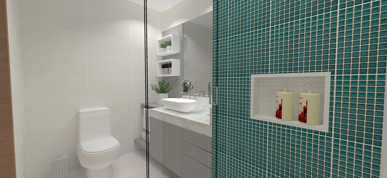 Projeto De Banheiro Social Na Cor Turquesa Orçamento Grátis -> Banheiro Social Moderno