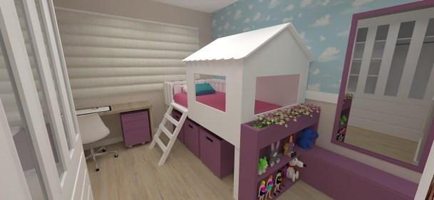 Quarto de menina com cama casinha da tokstok