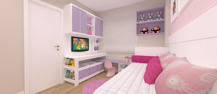quarto de menina rosa e lilás com branco