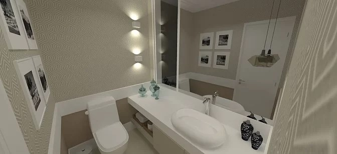 lavabo com meia parede de papel de parede