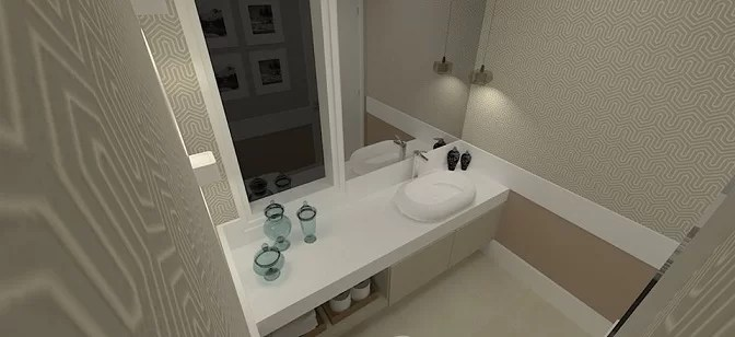 lavabo com silestone branco e decor bege