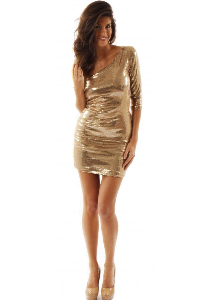 Love Gold Sequin Cut Out Bodycon Dress  Love Label Gold Sequin Mini Dress