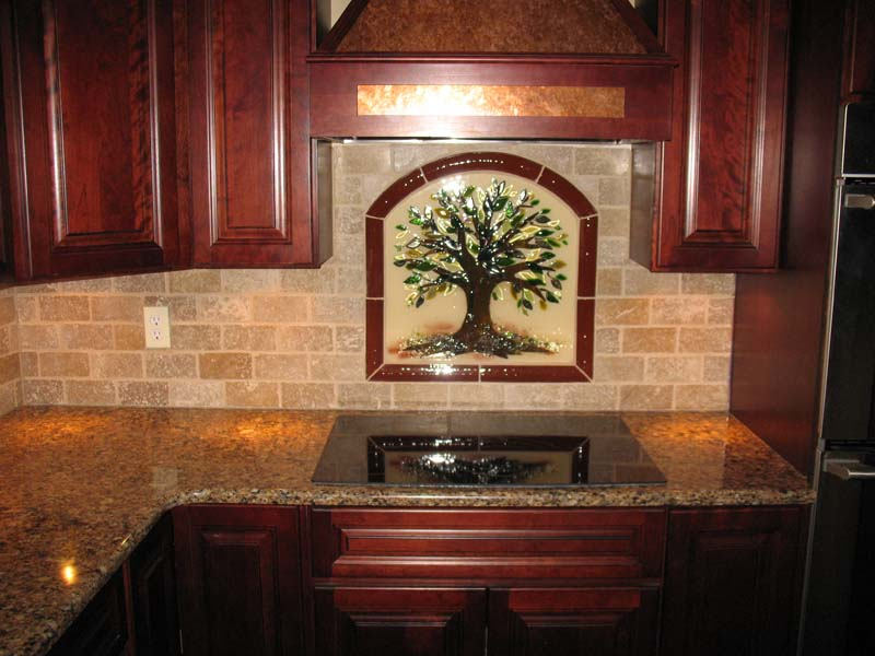 Tree of Life Kitchen Backsplash in Fused Glass