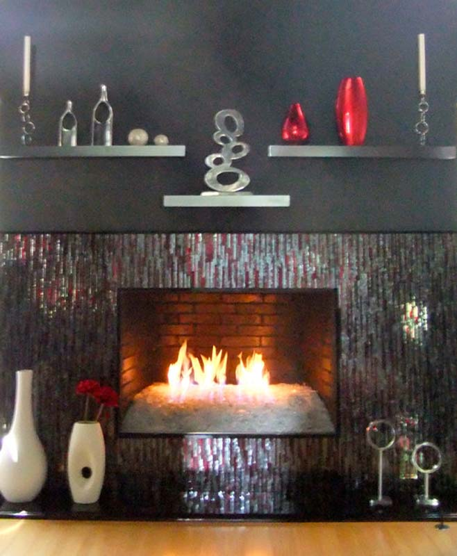 "How To Fit A Fireplace Mosaic Fireplace Surround In Red & Silver ""bamboo"