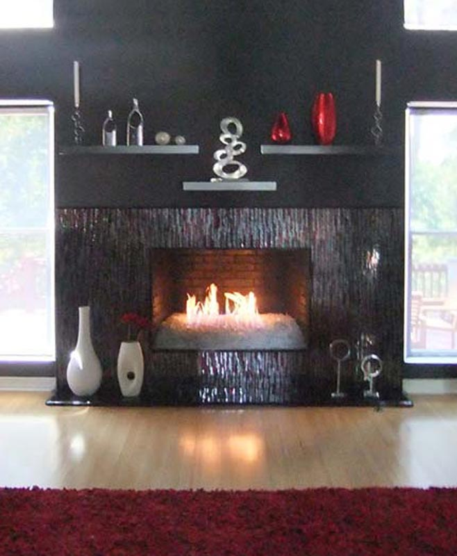 Mosaic Fireplace Surround in Red  Silver Bamboo