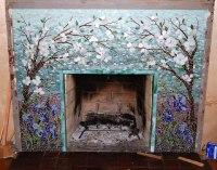 Mosaic Fireplace Surround/Dogwood and Irises | Designer ...
