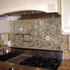 Kitchen Knobs Pantry Stand Alone Mosaic Floral Backsplash | Designer Glass Mosaics