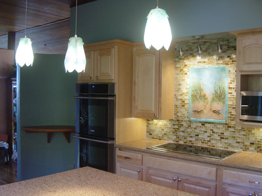 Tuscan Fireplace Beach Theme Kitchen Backsplash | Designer Glass Mosaics