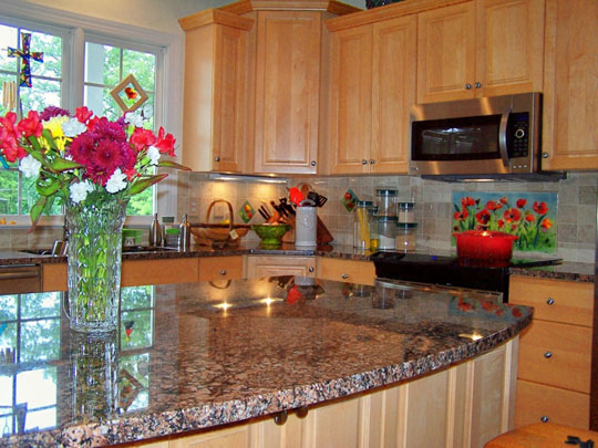 Floral Kitchen Backsplash Red Poppies  Designer Glass