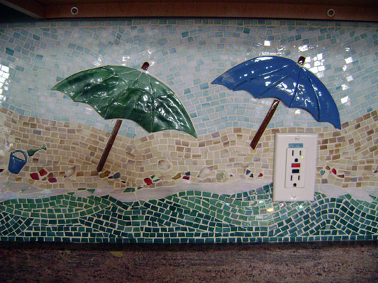Mosaic Kitchen Backsplash Beach Scene  Designer Glass