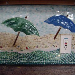 Contemporary Kitchen Lighting Aid Double Oven Mosaic Backsplash