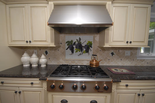 designer kitchen colors lowes tiles fused and stained glass backsplash with grapes ...