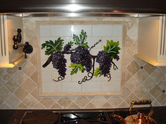 tiles for kitchen backsplash traditional cabinets fused and stained glass with grapes ...
