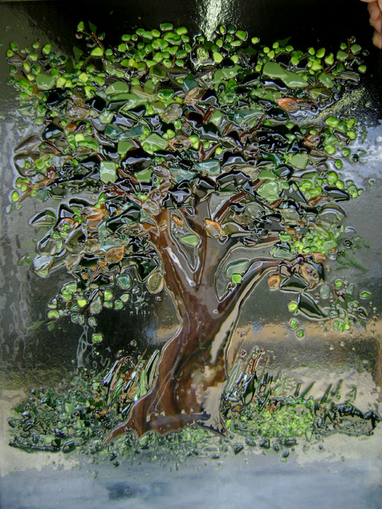 Glass Wall Art Panel in Tree of Life Motif  Designer Glass Mosaics
