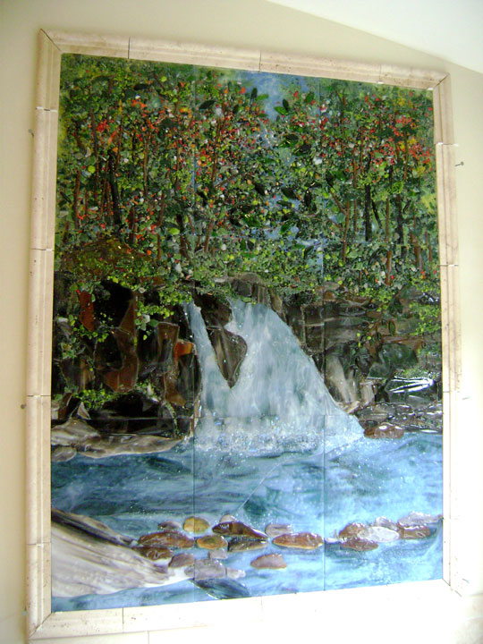 Tuscan Fireplace Fused Glass Tile Waterfall Mural | Designer Glass Mosaics