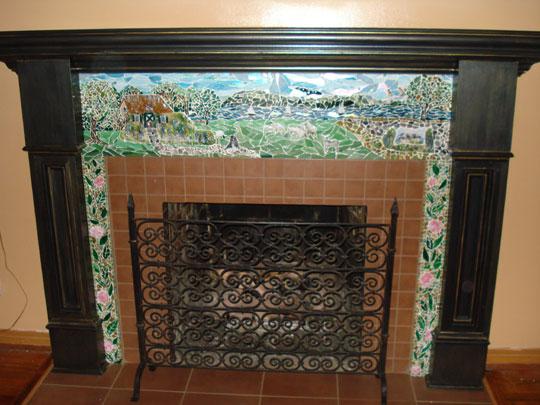 English Cottage Mosaic Fireplace Surround  Designer