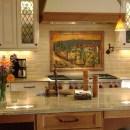Fused Glass Kitchen Backsplash in Tuscany Theme