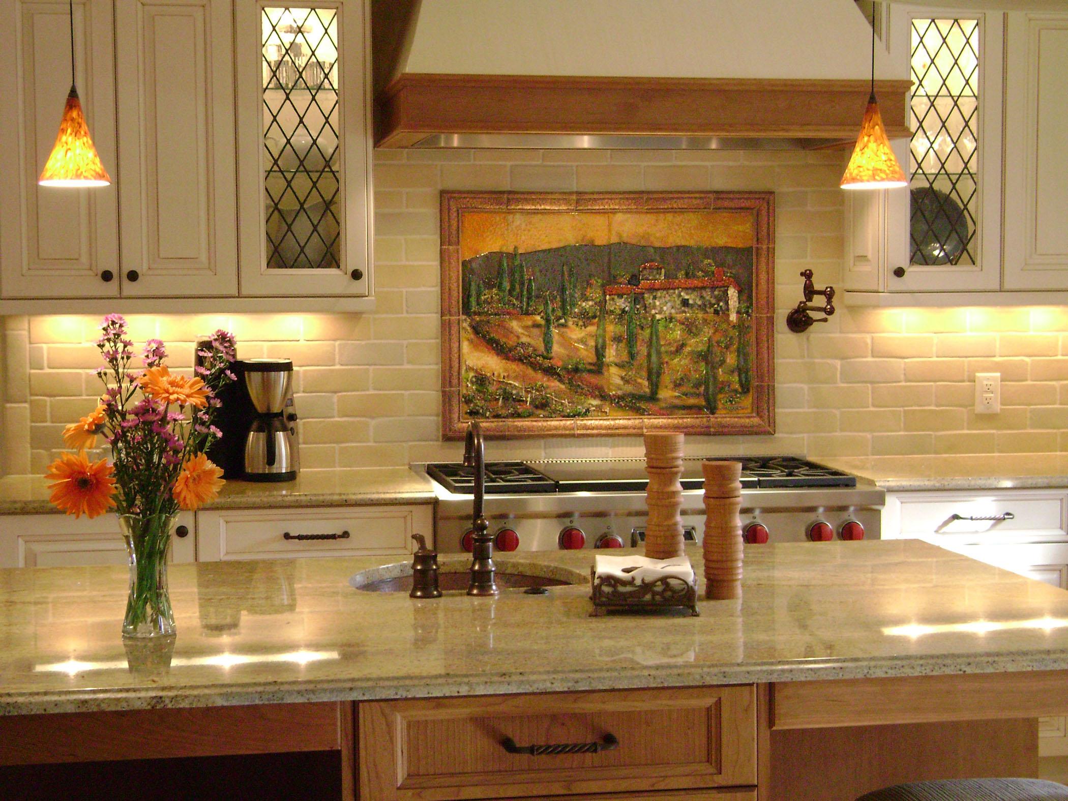 Fused Glass Kitchen Backsplash In Tuscany Theme Designer Mosaics