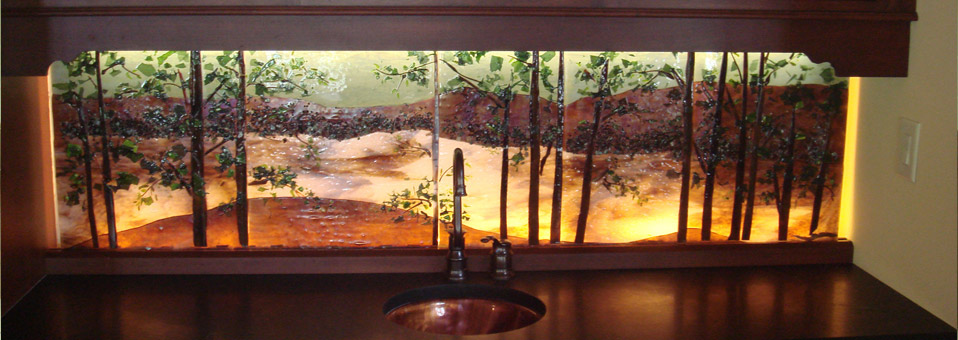 Backlit Glass Mural in Lake Scene Theme  Designer Glass