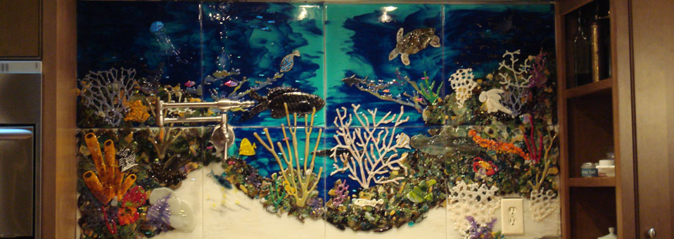 Custom Glass Tile Mural Underwater Seascape in Kitchen