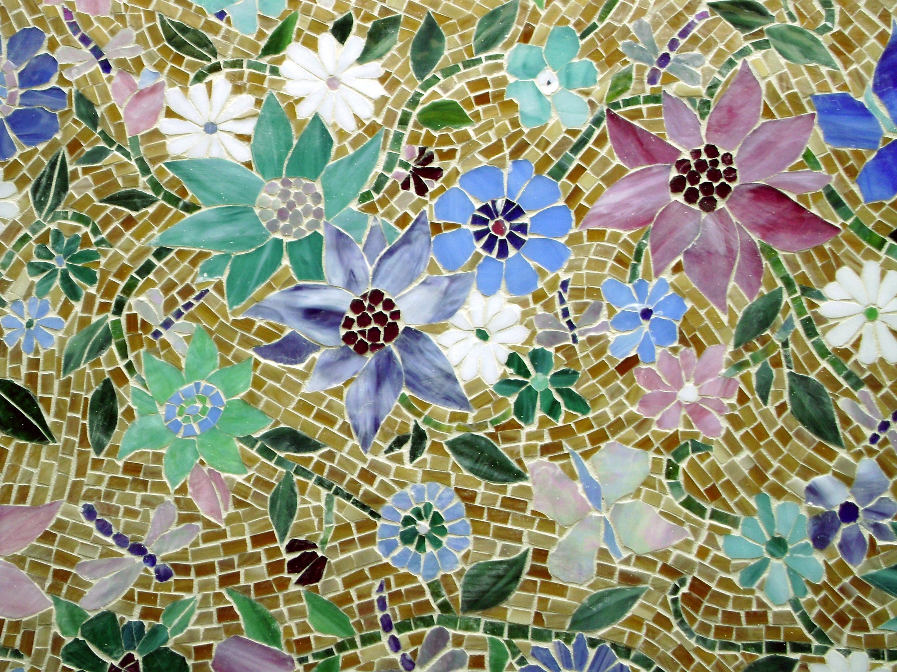 Tuscan Fireplace Floral Mosaic Kitchen Backsplash | Designer Glass Mosaics