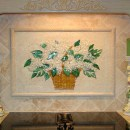"Fused and Mosaics Glass Tile ""Basket of Hydrangeas' Kitchen Backsplash"