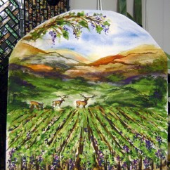 Glass Tiles For Kitchen Backsplashes Design Online Fused Mural In North Carolina Vineyard Scene ...