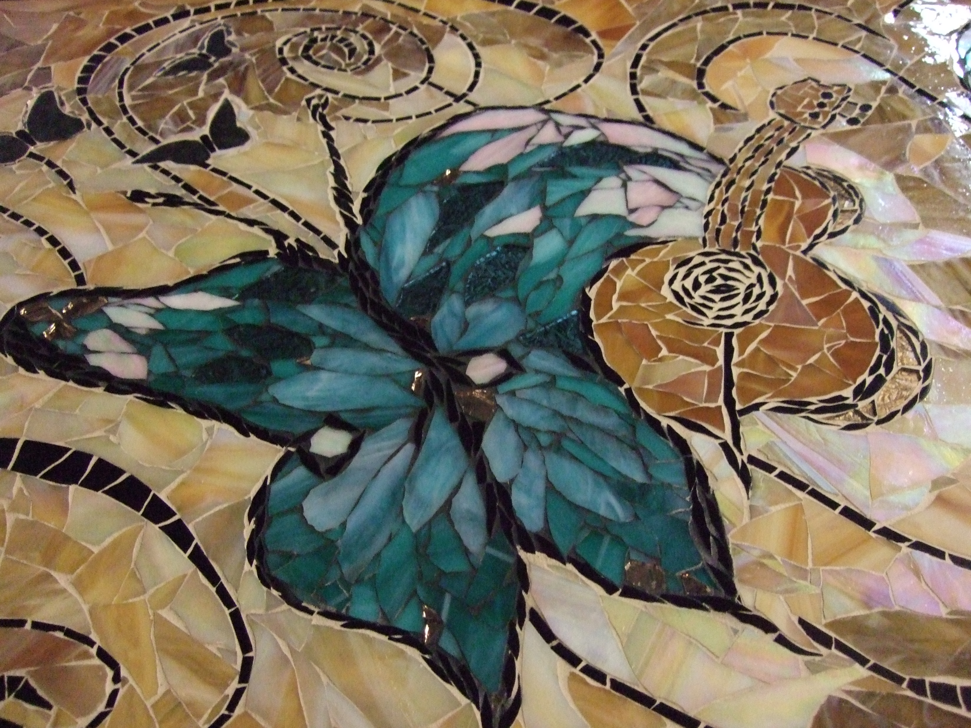 Mosaic Butterfly Table Top Designer Glass Mosaics
