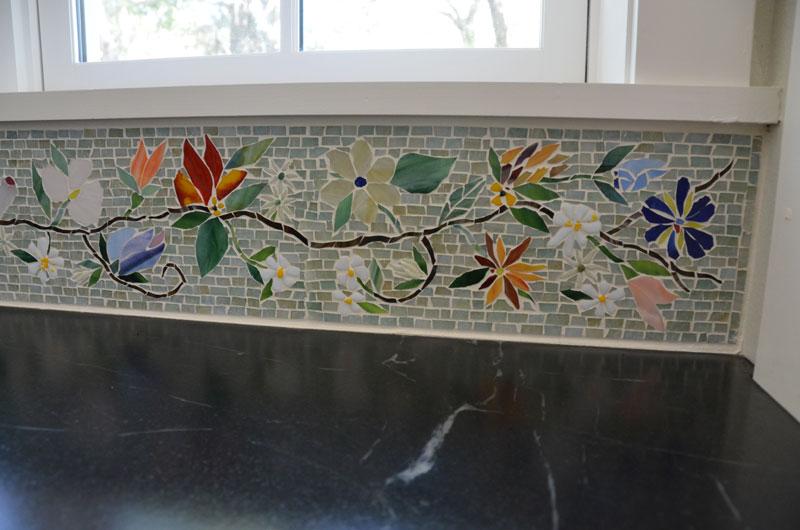 tuscan kitchen ideas reno floral mosaic border for   designer glass mosaics