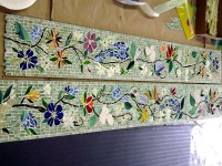 Mosaic Border Tiles in Floral Motif | Designer Glass Mosaics