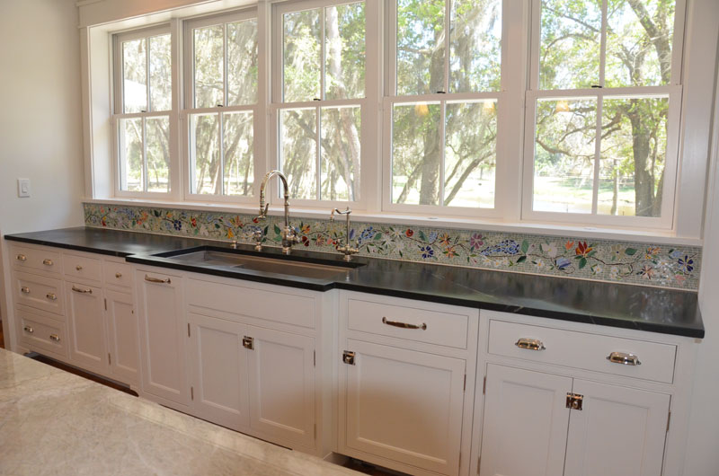 Tuscan Fireplace Floral Mosaic Border For Kitchen | Designer Glass Mosaics