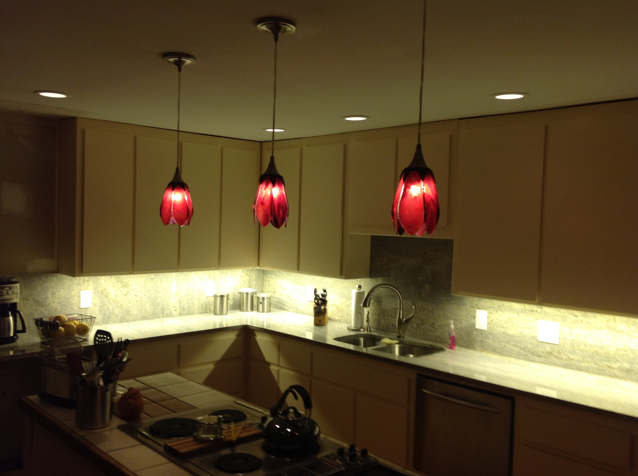 Red Pendant Lighting Kitchen