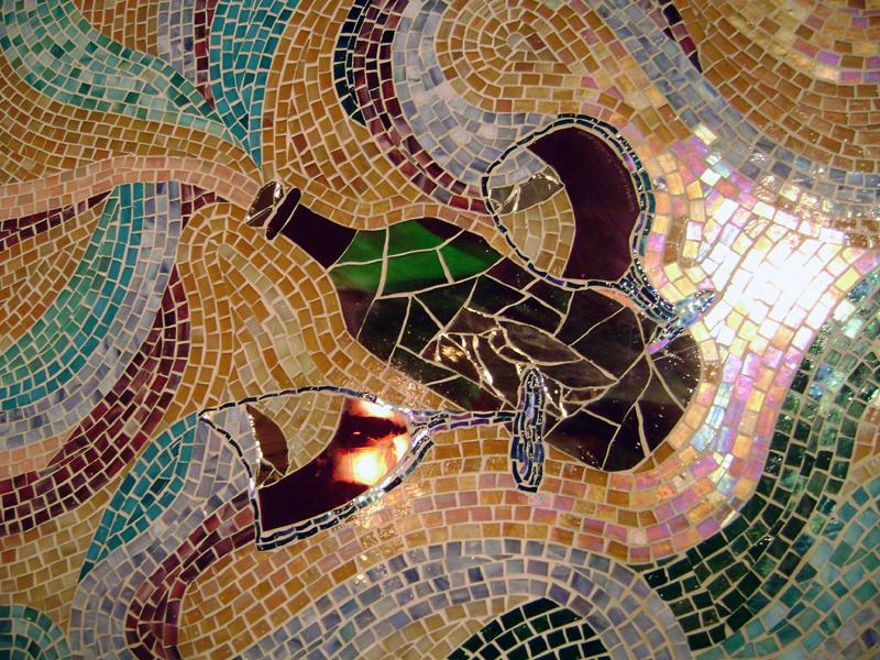 Glass Mosaic Mural for Wine Cellar  Designer Glass Mosaics