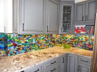 Colorful Abstract Kitchen Backsplash | Designer Glass Mosaics