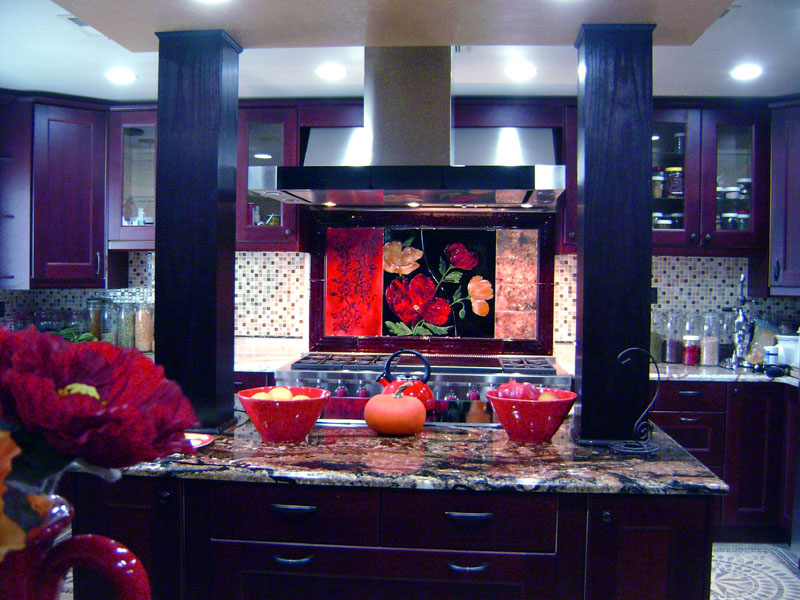 Large Red Floral Kitchen Backsplash  Designer Glass Mosaics