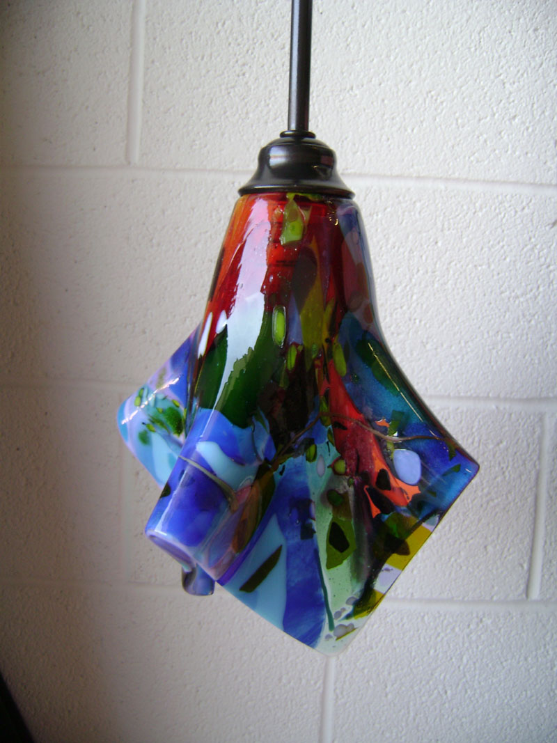 Colorful Fused Glass Pendant Light  Designer Glass Mosaics