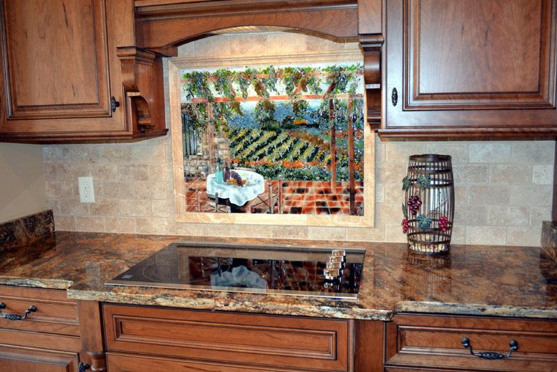 Italian Vineyard Theme Fused Glass Kitchen Backsplash  Designer Glass Mosaics