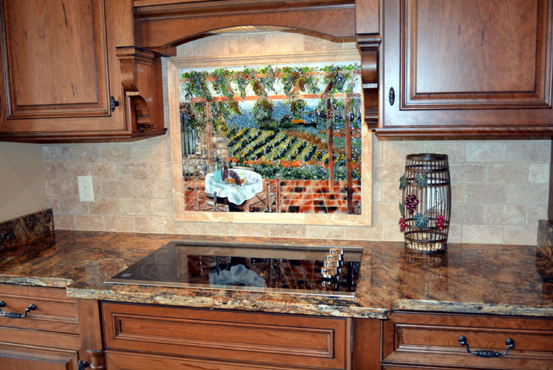kitchen backsplash murals shoes non slip italian vineyard theme fused glass ...