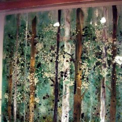 Kitchen Wall Tiles Online Set Backsplash - Fused Glass Abstract Trees | Designer ...