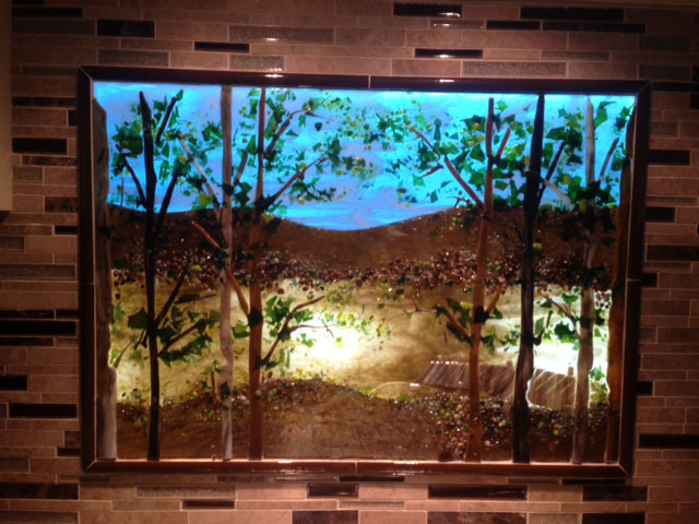 Fireplace Design Dimensions Backlit Kitchen Lake Scene | Designer Glass Mosaics