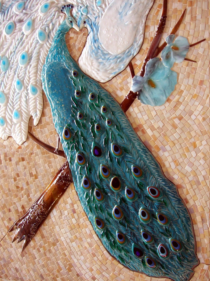 Mosaic and Fused Glass Tile Mural  Peacock Lovers  Designer Glass Mosaics